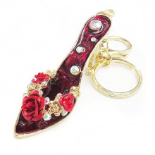 2015 new design gold high-heeled shoes diamond key chain fashion