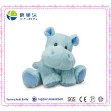 Pequeño juguete feliz azul del hipopótamo para el bebé