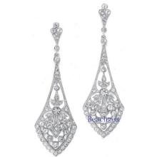 Schmuck-synthetischen Diamanten Sterling Silber Ohrringe