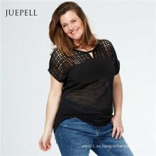 Camiseta Casual de mujer de encaje de tallas grandes