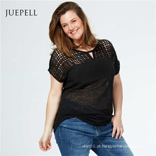 Plus Size Lace Mulheres Casual T Shirt