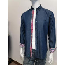 Mens denim long sleeve shirt in autumn