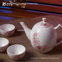 Ensemble de thé chinoise à thé en porcelaine fine à motif floral 7pcs, Ensemble de thé à la Lucky China