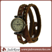 Klassische lange Leder Wrap Fashion Quartz Lady Watch