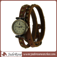 Classic Long Leather Wrap Fashion Quartz Lady Watch