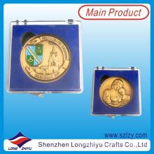 Moneda conmemorativa personalizada de Dubai con la moneda de recuerdo de la caja plástica