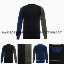Camisola de caxemira pura de grau superior do pescoço de tripulação dos homens