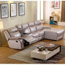 L forma reclinable sofá, sofá de cuero moderno, muebles de sala (G379)