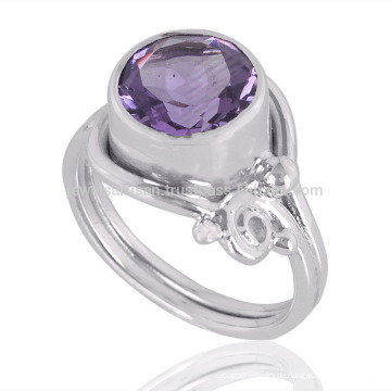 Amethyst Edelstein 925 Sterling Silber Ring Großhandel Silber Schmuck Hersteller