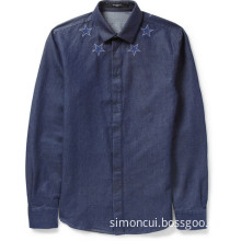Man Star Denim Cutaway Collar Long Sleeve Shirt