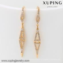 92035 Xuping Jóias Brincos banhados a ouro simples e novos design para mulheres