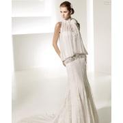 Sangkakala elegan Mermaid Neckline tinggi rendah naik Keretapi Cathedral Lace Chiffon pakaian perkahwinan