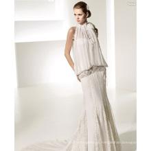 Elegante vestido de novia de gasa de encaje de tren catedral de subida
