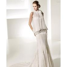 Elegante vestido de novia de gasa con encaje en el tren de la catedral de Rise