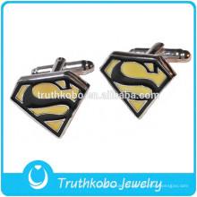 """Venda quente de Prata Cufflink Super Man """"S"""" Camisa De Vestido De Aço Inoxidável 1 Par Abotoaduras Superman"""