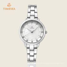 Reloj de cuarzo de señoras casual de moda con banda de acero inoxidable 71124