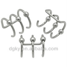 Steel Triple Bead Cartilage Clip On Cheater Jewelrys, Fake Plugs