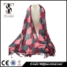 100% super soft football pattern scarf tassel VISCOSE shawl