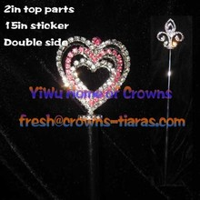 Pink Rhinestone Heart Shaped Pageant Scepters