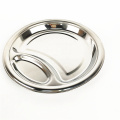 durable 2inch stainless steel 2 compartment round dish divided platter