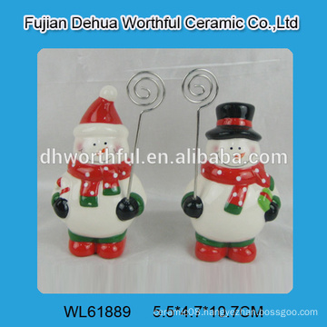 Attractive ceramic card holder in snowman shape for 2016 christmas