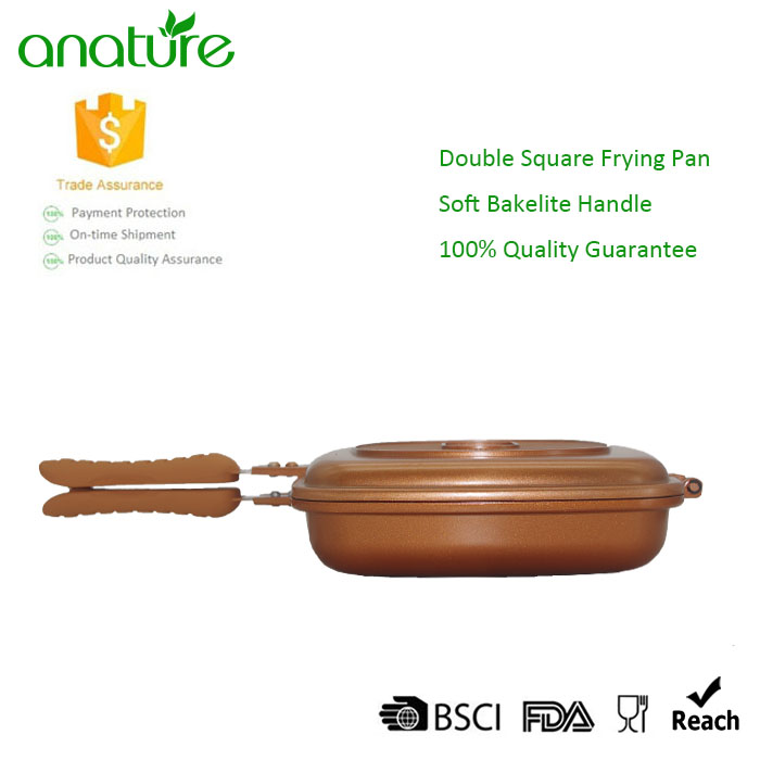 Non Stick PTFE Coating Double Sided Silicone Frying Pan Cookware