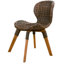 Leisure Wooden table and four leg rattan chair