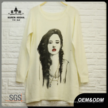 Women Fashion White Pattern Sweater