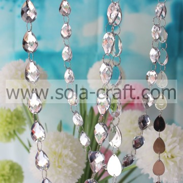 20*30mm White Artificial Crystal Cut Diamond Round Bead Chain For Christmas Decoration