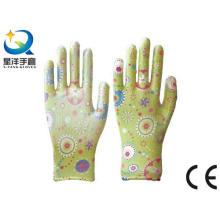 Guantes de jardín, impresión Polyestershell transparente Nitrilo revestido acabado suave, guantes de trabajo de seguridad con ce, En388 (N6047)
