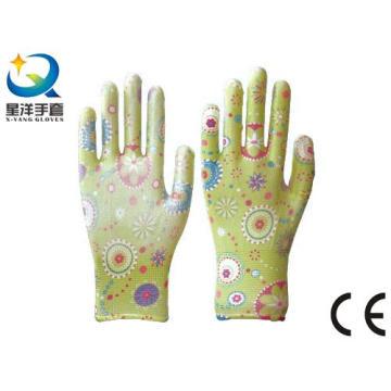 Luvas de jardim, impressão Polyestershell transparente Nitrilo revestido acabamento suave, luvas de trabalho de segurança com Ce, En388 (N6047)