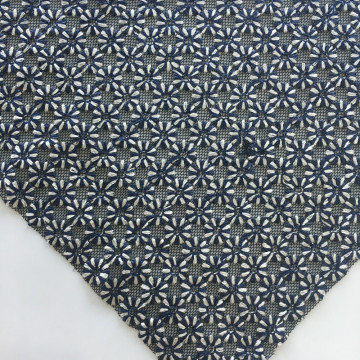 Two Tone Flower Embroidery On Black Mesh Fabric