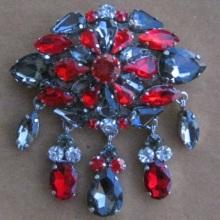large multi-colour diamante rhinestone crystal brooch tear drops
