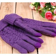 Vente en gros de gants / mitaines en jacquard chaud en acrylique en tricot