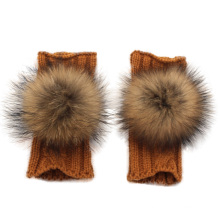 Winter Fashion Girls Knitted Gloves with a Raccoon Fur Ball