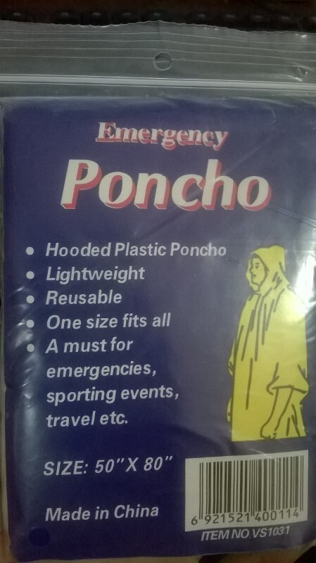 PE rain poncho packing bag with papercard