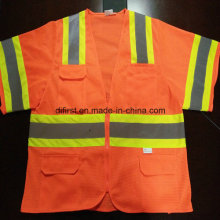 Safety Vest with Reflective Caution Band 100%Polyester Knitting Fabric