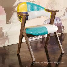 Estilo nórdico moderno restaurante silla silla de cena de madera