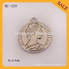 MC458 Logotipo elegante grabado etiqueta de caída de metal de China para la ropa