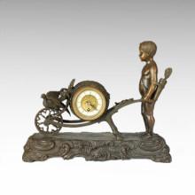 Clock Statue Handcart Cupid Bell Bronze Sculpture Tpc-028