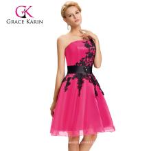 Grace Karin nuevo color corto un hombro cóctel de color rosa oscuro regreso a casa se viste CL4288-2
