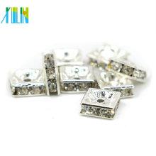 IA0301 plateado cristales Preciosa cristales de metal y diamantes de imitación espaciador para las pulseras