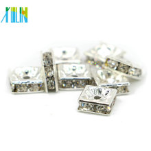 IA0301 Silver Plating Preciosa Crystals Metal And Rhinestone Spacer Beads For Bracelets