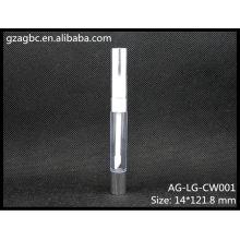 Plástico transparente & vazio redonda Lip Gloss tubo AG-LG-CW001, embalagens de cosméticos do AGPM, cores/logotipo personalizado