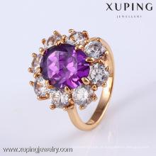 Anel de pedra preciosa do ouro de 11795 Xuping 18K, anel de diamante da joia do acoplamento
