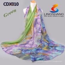 Lingshang leopardo flor venda quente impresso menina vestido de moda mais recente moda lenço de chiffon cachecol mágico