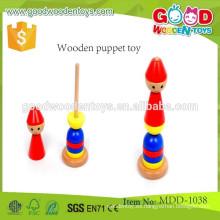 Buena calidad torres de tops de madera OEM juguete de madera de madera marioneta MDD-1038