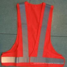 Polyester Roadway Safety Waistcoat with Reflective Strip