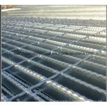 Grille de plancher en acier résistante dentelée par barre de plate-forme de plancher galvanisée