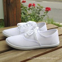 young girl casual flat casual plain white canvas shoes wholesale